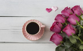 Picture roses, bouquet, hearts, wood, pink, romantic, hearts, coffee cup, valentine's day, roses, a Cup of …