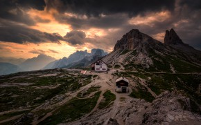 Picture clouds, sunset, mountains, the evening, The Dolomites
