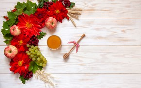Picture flowers, apples, honey, grapes, bunch, Ellygri