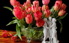 Picture tulips, vase, figurine, grace