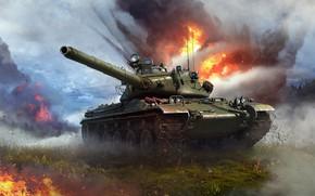 Picture fire, smoke, tank, War Thunder