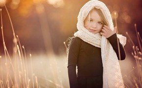Picture grass, nature, girl, child, shawl, bokeh, Amber Bauerle