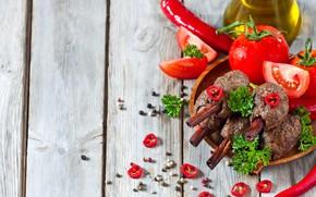 Picture oil, cinnamon, tomatoes, meat dish, chili, pepper