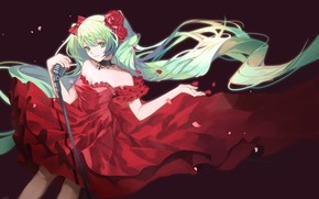 Picture Girl, red dress, Hatsune Miku, Vocaloid, Vocaloid, Hatsune Miku, qie (25832912)