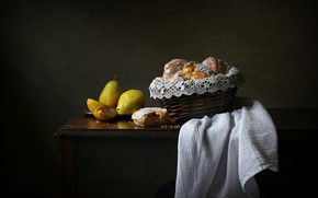 Picture style, retro, the dark background, table, food, towel, yellow, bread, fabric, fruit, still life, basket, …