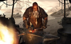 Picture man, sword, forging, Smith, Legends of Runeterra