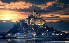 Picture city, light, beach, cathedral, sky, sea, landscape, nature, sunset, France, clouds, island, evening, sun, castle, …