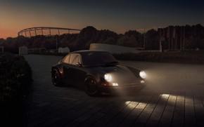 Picture lights, the evening, 911, Porsche, twilight, Carrera