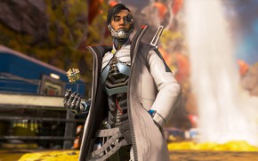 Picture robot, jacket, cyborg, Apex Legends, Crypto