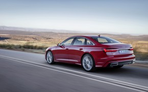 Picture red, movement, Audi, sedan, 2018, four-door, A6 Sedan
