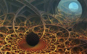 Wallpaper ball, pass, fractal art, inside view, the exit to the surface, Down the rabbit hole, ...