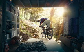 Picture forest, bike, bed, the room, HAPPY SLEEP