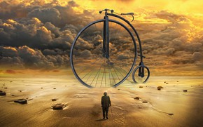 Picture sand, sea, the sky, clouds, light, sunset, clouds, bike, stones, rendering, fantasy, shore, design, hat, …
