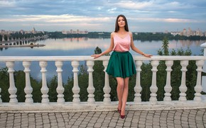 Picture landscape, pose, river, model, skirt, portrait, makeup, Mike, figure, hairstyle, shoes, brown hair, beauty, promenade, …
