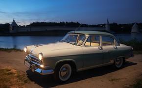 Picture machine, night, the city, retro, river, car, Volga, Pskov, Volga GAZ-21, Газ-21