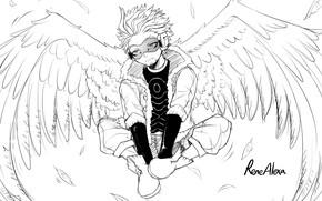 Picture wings, angel, art, guy, black and white, My Hero Academia, Boku No Hero Academy, My …