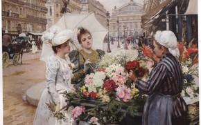 Picture flowers, saleswoman, de SCHRYVER, two women with umbrella
