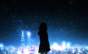 Picture girl, night, the city