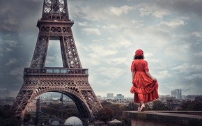 Picture girl, mood, France, Paris, the situation, dress, panorama, Eiffel tower, in red, takes