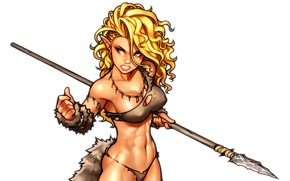Picture chest, girl, elf, body, art, blonde, tail, spear, ears, muscle