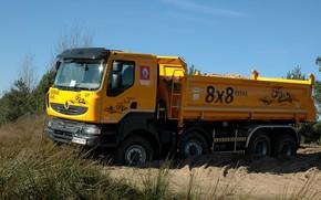 Picture orange, truck, Renault, the ground, 8x8, dump truck, four-axle, Renault Trucks, Kerax