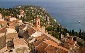 Picture the city, coast, France, home, roof, Roquebrune-Cap-Martin