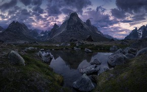 Picture the sky, clouds, mountains, nature, lake, stones, rocks, the evening, twilight, Greenland
