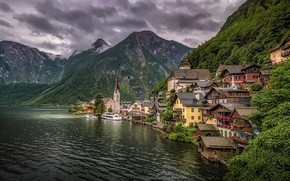 Picture forest, clouds, trees, mountains, clouds, lake, rocks, home, Austria, Hallstatt
