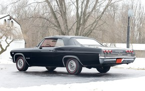 Picture house, black, chevrolet, road, coupe, winter, snow, tree, impala, grey sky, hoarfrost, musculcar