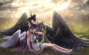 Picture girl, rain, blood, angel, the demon, guy, tears, drama, Satan, Lilith, Lucifer, Obey Me! Shall …
