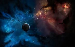 Picture dark, space, nebula, planet