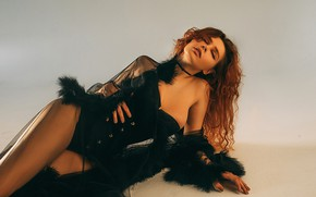 Picture girl, pose, background, negligee, corset, shoulder, long hair, closed eyes, Rome Rome