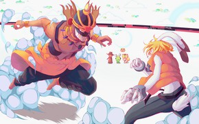 Picture battle, fantasy, creatures, the battle, two, 2009, Summer Wars, Year war