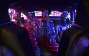 Picture car, gun, game, art, Cyberpunk 2077, cyberpank, bro, 2077
