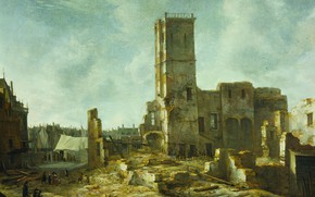 Picture oil, picture, canvas, Ian Abraham Bearstate, Jan Abrahamsz Beerstraten, 1666, The ruins of the old …