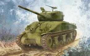 Picture M4A1(76)W, Sherman, the main American medium tank, USA