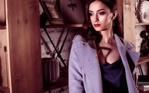 Picture pose, wall, model, portrait, makeup, dress, hairstyle, brown hair, beauty, coat, shelves