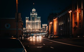 Picture road, the city, street, building, home, the evening, lighting, Moscow, architecture, skyscraper, Kotelnicheskaya embankment