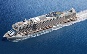 Picture The ocean, Sea, Liner, The ship, Rendering, Passenger ship, MSC, Seaside, Cruise Ship, Passenger Ship, …