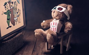 Picture cartoon, glasses, bear, screen, popcorn, Teddy bear