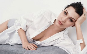 Picture look, girl, face, pose, model, makeup, brunette, shirt, beauty, Bella Hadid