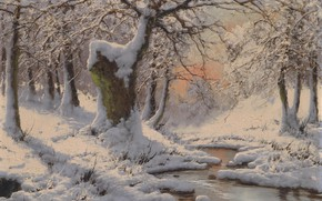 Picture Laszlo Neogrady, Hungarian painter, Laszlo Nogradi, Hungarian painter, oil on canvas, Winter snow landscape with …