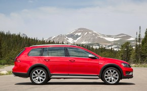 Picture mountains, red, Volkswagen, profile, universal, 2017, Golf Alltrack