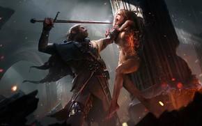 Picture dark, fire, sword, blood, fantasy, armor, weapon, Warrior, red eyes, artwork, fantasy art, witch, sparks, …