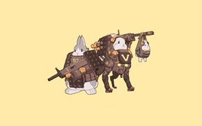 Picture Art, Robot, Weapon, Minimalism, Characters, Bunny, Rabbits, Mecha, Bunnies, Transport & Vehicles, Ren Wei Pan, …