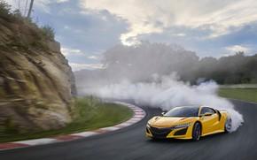 Picture smoke, turn, skid, Machine, Honda, track, Acura, NSX