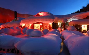 Picture snow, nature, home, the evening, village, lighting, lights, China, the snow