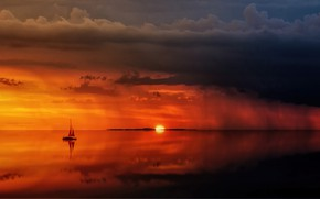 Picture The OCEAN, The SKY, CLOUDS, RAIN, SAILS, SURFACE, YACHT, SURFACE, BOAT