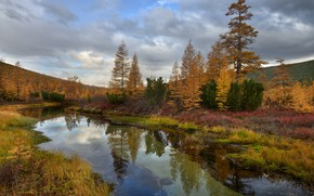 Picture autumn, forest, clouds, reflection, river, hills, shore, vegetation, ate, river, pond, pine