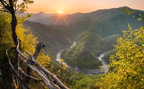 Wallpaper autumn, the sun, mountains, fog, river, hills, foliage, height, haze